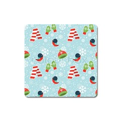 Winter Fun Pattern Square Magnet by AllThingsEveryone