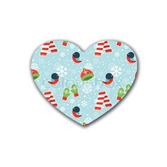 Winter Fun Pattern Heart Coaster (4 Pack)  by AllThingsEveryone
