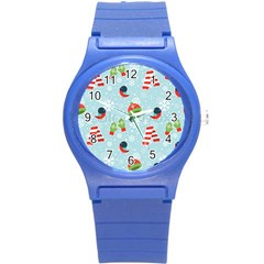 Winter Fun Pattern Round Plastic Sport Watch (s) by allthingseveryone