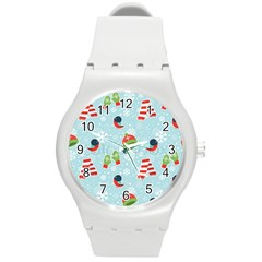 Winter Fun Pattern Round Plastic Sport Watch (m) by allthingseveryone