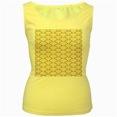 Art Deco,japanese Fan Pattern, Gold,white,vintage,chic,elegant,beautiful,shell Pattern, Modern,trendy Women s Yellow Tank Top by 8fugoso