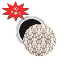 Art Deco,japanese Fan Pattern, Gold,white,vintage,chic,elegant,beautiful,shell Pattern, Modern,trendy 1 75  Magnets (10 Pack)  by 8fugoso