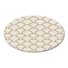 Art Deco,japanese Fan Pattern, Gold,white,vintage,chic,elegant,beautiful,shell Pattern, Modern,trendy Oval Magnet by 8fugoso