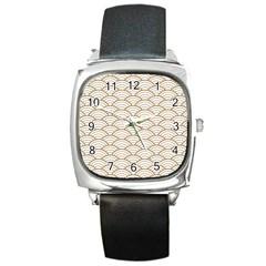 Art Deco,japanese Fan Pattern, Gold,white,vintage,chic,elegant,beautiful,shell Pattern, Modern,trendy Square Metal Watch by 8fugoso
