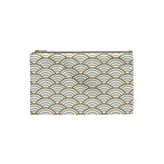 Art Deco,japanese Fan Pattern, Gold,white,vintage,chic,elegant,beautiful,shell Pattern, Modern,trendy Cosmetic Bag (small)  by 8fugoso