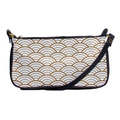 Art Deco,japanese Fan Pattern, Gold,white,vintage,chic,elegant,beautiful,shell Pattern, Modern,trendy Shoulder Clutch Bags