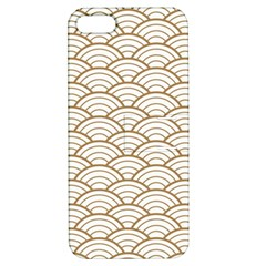 Art Deco,japanese Fan Pattern, Gold,white,vintage,chic,elegant,beautiful,shell Pattern, Modern,trendy Apple Iphone 5 Hardshell Case With Stand by 8fugoso
