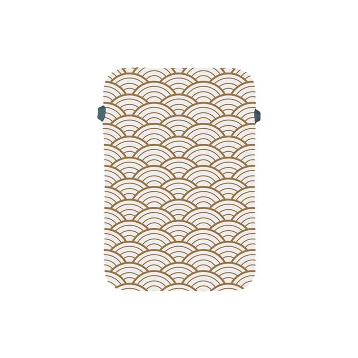 art deco,japanese fan pattern, gold,white,vintage,chic,elegant,beautiful,shell pattern, modern,trendy Apple iPad Mini Protective Soft Cases