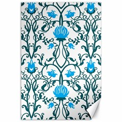 Art Nouveau, Art Deco, Floral,vintage,blue,green,white,beautiful,elegant,chic,modern,trendy,belle Époque Canvas 12  X 18   by 8fugoso