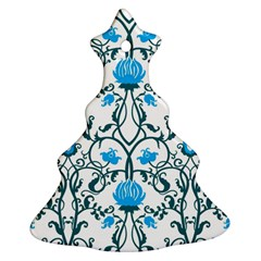 Art Nouveau, Art Deco, Floral,vintage,blue,green,white,beautiful,elegant,chic,modern,trendy,belle ¨|poque Christmas Tree Ornament (two Sides) by 8fugoso