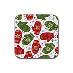 Winter Snow Mittens Rubber Square Coaster (4 Pack)  by AllThingsEveryone