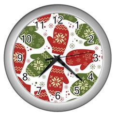 Winter Snow Mittens Wall Clocks (silver)  by AllThingsEveryone