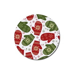 Winter Snow Mittens Rubber Coaster (round)  by AllThingsEveryone