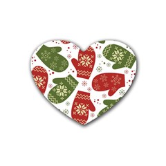 Winter Snow Mittens Rubber Coaster (heart)  by AllThingsEveryone