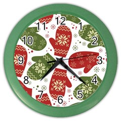 Winter Snow Mittens Color Wall Clocks by AllThingsEveryone