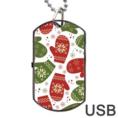 Winter Snow Mittens Dog Tag Usb Flash (two Sides) by AllThingsEveryone