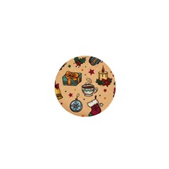 Cute Vintage Christmas Pattern 1  Mini Magnets by allthingseveryone