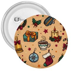 Cute Vintage Christmas Pattern 3  Buttons by allthingseveryone