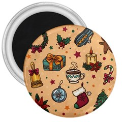 Cute Vintage Christmas Pattern 3  Magnets by AllThingsEveryone