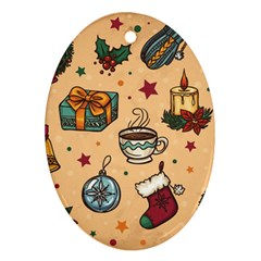 Cute Vintage Christmas Pattern Ornament (oval) by allthingseveryone