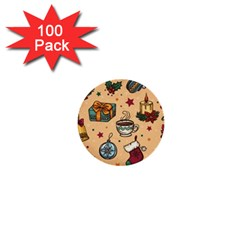 Cute Vintage Christmas Pattern 1  Mini Buttons (100 Pack)  by allthingseveryone