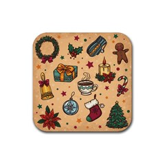Cute Vintage Christmas Pattern Rubber Coaster (square)  by allthingseveryone