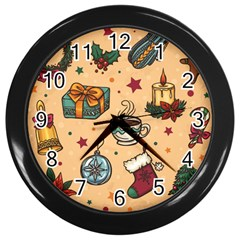 Cute Vintage Christmas Pattern Wall Clocks (black) by AllThingsEveryone