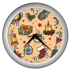 Cute Vintage Christmas Pattern Wall Clocks (silver)  by AllThingsEveryone