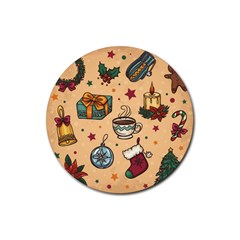 Cute Vintage Christmas Pattern Rubber Round Coaster (4 Pack)  by AllThingsEveryone