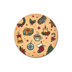 Cute Vintage Christmas Pattern Magnet 3  (round) by AllThingsEveryone