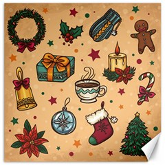 Cute Vintage Christmas Pattern Canvas 12  X 12   by AllThingsEveryone