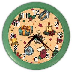 Cute Vintage Christmas Pattern Color Wall Clocks by AllThingsEveryone