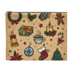 Cute Vintage Christmas Pattern Cosmetic Bag (xl) by allthingseveryone