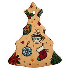 Cute Vintage Christmas Pattern Christmas Tree Ornament (two Sides) by AllThingsEveryone