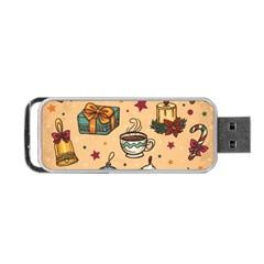 Cute Vintage Christmas Pattern Portable Usb Flash (one Side) by AllThingsEveryone