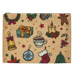 Cute Vintage Christmas Pattern Cosmetic Bag (xxl)  by AllThingsEveryone