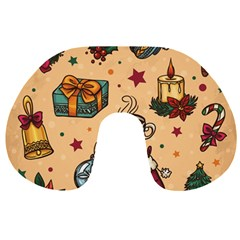 Cute Vintage Christmas Pattern Travel Neck Pillows by AllThingsEveryone
