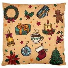 Cute Vintage Christmas Pattern Large Flano Cushion Case (two Sides) by allthingseveryone