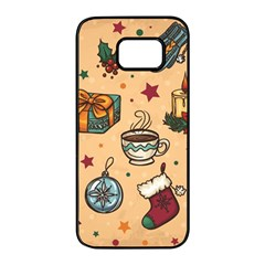 Cute Vintage Christmas Pattern Samsung Galaxy S7 Edge Black Seamless Case by allthingseveryone