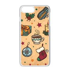 Cute Vintage Christmas Pattern Apple Iphone 7 Plus Seamless Case (white) by allthingseveryone