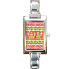 Christmas Tree Ugly Sweater Pattern Rectangle Italian Charm Watch by AllThingsEveryone