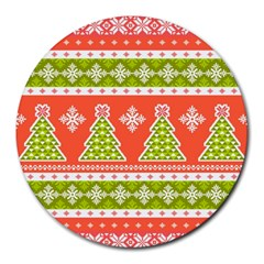 Christmas Tree Ugly Sweater Pattern Round Mousepads by allthingseveryone