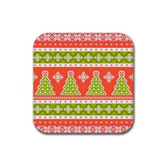 Christmas Tree Ugly Sweater Pattern Rubber Square Coaster (4 Pack)  by AllThingsEveryone