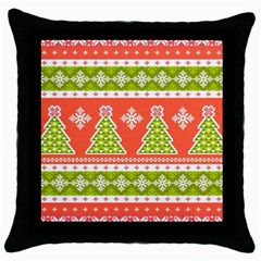Christmas Tree Ugly Sweater Pattern Throw Pillow Case (black) by AllThingsEveryone