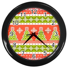 Christmas Tree Ugly Sweater Pattern Wall Clocks (black) by AllThingsEveryone