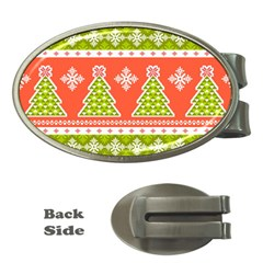 Christmas Tree Ugly Sweater Pattern Money Clips (oval)  by allthingseveryone