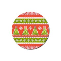 Christmas Tree Ugly Sweater Pattern Rubber Round Coaster (4 Pack)  by AllThingsEveryone