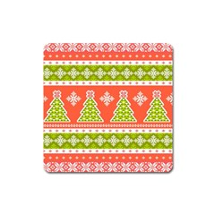 Christmas Tree Ugly Sweater Pattern Square Magnet by allthingseveryone