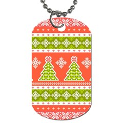 Christmas Tree Ugly Sweater Pattern Dog Tag (one Side) by AllThingsEveryone