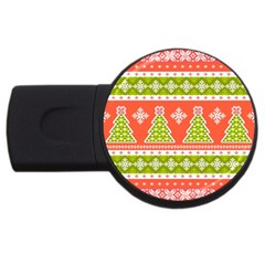 Christmas Tree Ugly Sweater Pattern Usb Flash Drive Round (4 Gb) by allthingseveryone